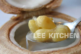 Double Boiled Bird's Nest and White Nuts Served in Coconut Shell